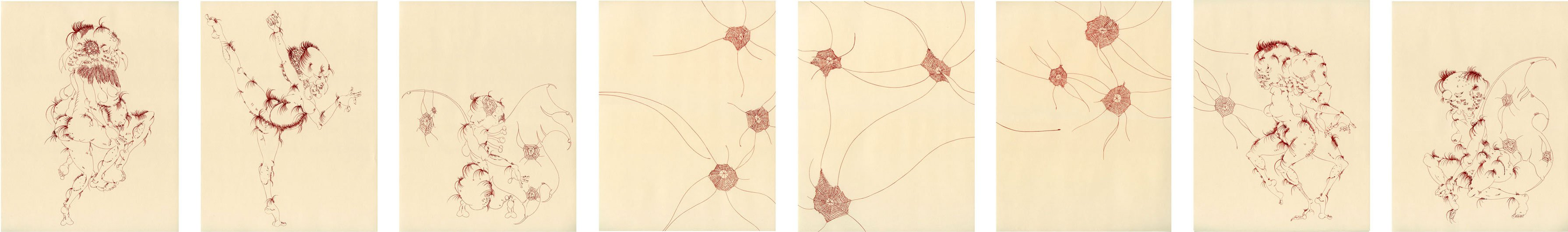 "untitled, 2012, ink and embroidery on paper, a series of 8 drawings, 13"" x 10"""
